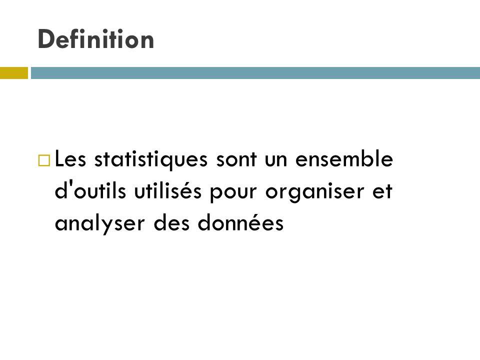 Definition Les statistiques sont un ensemble d'outils utilisés pour organiser et analyser des données