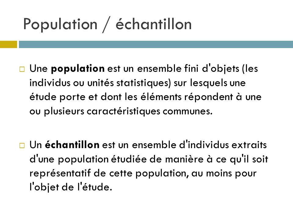 Population / échantillon Une population est un ensemble fini d'objets (les individus ou unités statistiques) sur lesquels une étude porte et dont les