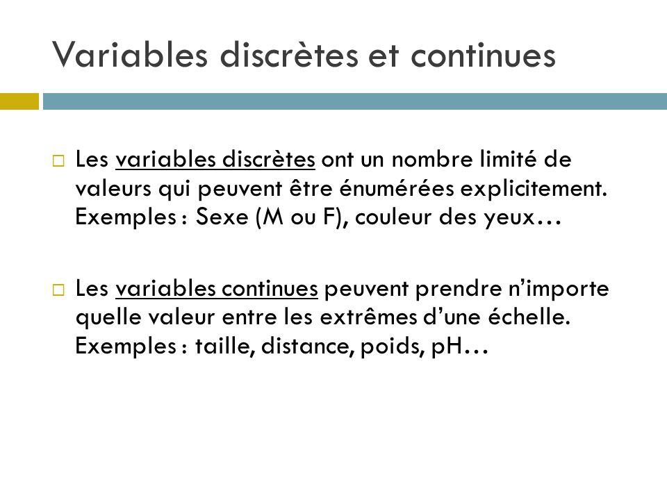 Variables discrètes et continues Les variables discrètes ont un nombre limité de valeurs qui peuvent être énumérées explicitement. Exemples : Sexe (M