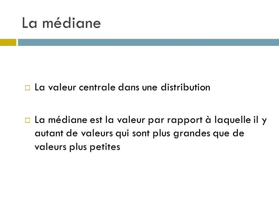 La médiane La valeur centrale dans une distribution La médiane est la valeur par rapport à laquelle il y autant de valeurs qui sont plus grandes que d