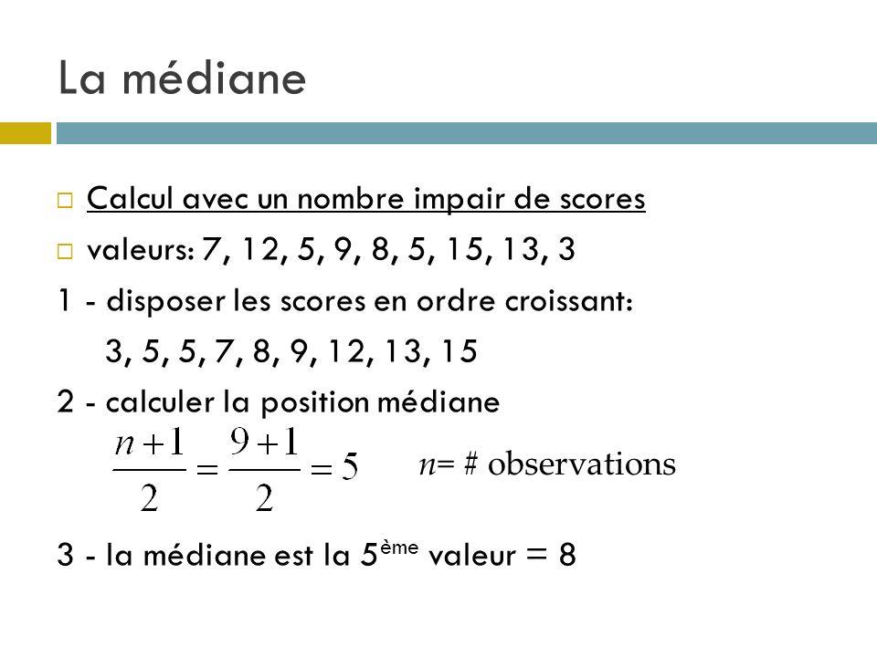 La médiane Calcul avec un nombre impair de scores valeurs: 7, 12, 5, 9, 8, 5, 15, 13, 3 1 - disposer les scores en ordre croissant: 3, 5, 5, 7, 8, 9,