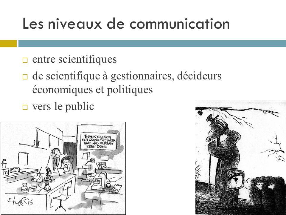 Les niveaux de communication entre scientifiques de scientifique à gestionnaires, décideurs économiques et politiques vers le public