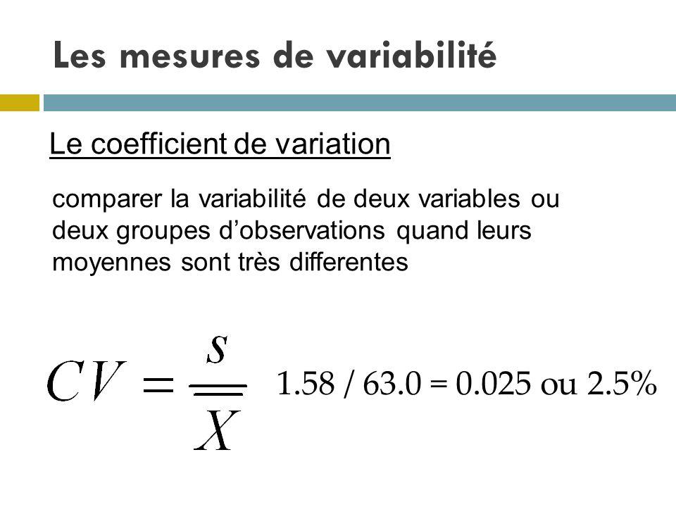 Les mesures de variabilité Le coefficient de variation comparer la variabilité de deux variables ou deux groupes dobservations quand leurs moyennes so