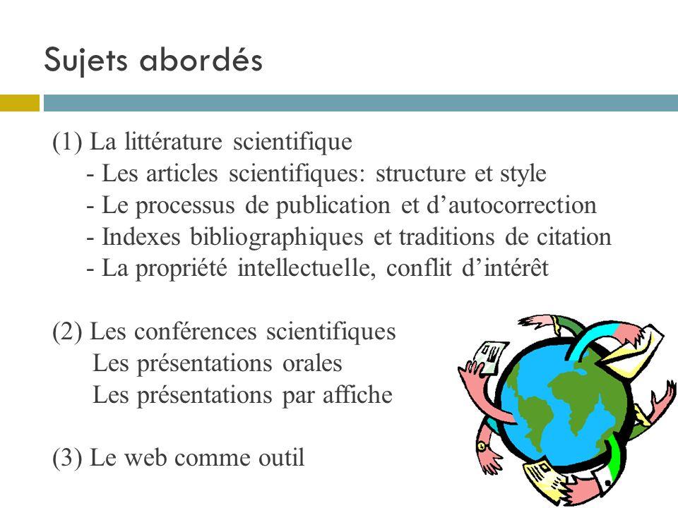 Structure pour cette partie du cours 1 atelier de recherche bibliographique (22 sept.