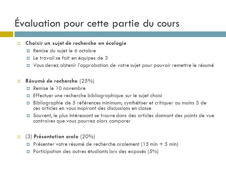 Évaluation pour cette partie du cours Choisir un sujet de recherche en écologie Remise du sujet le 6 octobre Le travail se fait en équipes de 3 Vous d