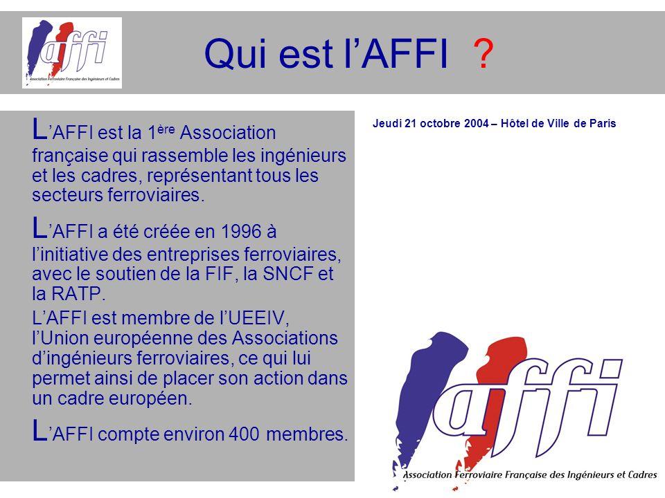 Qui est lAFFI ? L AFFI est la 1 ère Association française qui rassemble les ingénieurs et les cadres, représentant tous les secteurs ferroviaires. L A