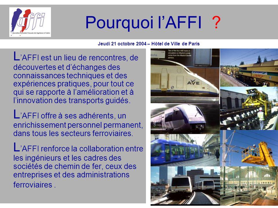 Pourquoi lAFFI ? L AFFI est un lieu de rencontres, de découvertes et déchanges des connaissances techniques et des expériences pratiques, pour tout ce