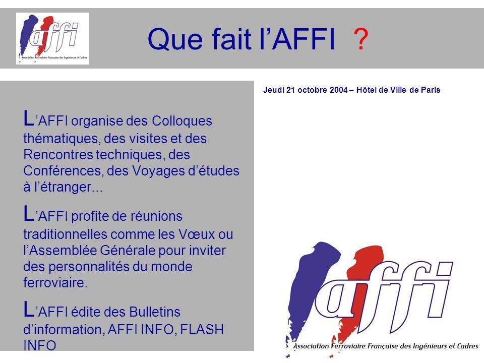 Que fait lAFFI ? L AFFI organise des Colloques thématiques, des visites et des Rencontres techniques, des Conférences, des Voyages détudes à létranger