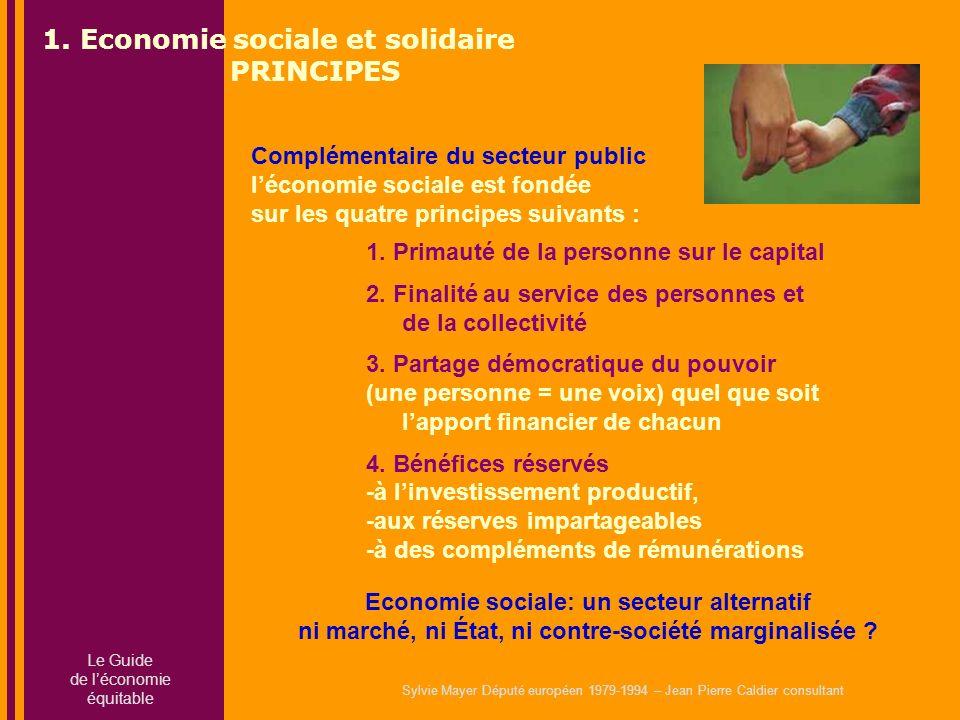 Sylvie Mayer Député européen 1979-1994 – Jean Pierre Caldier consultant 1. Primauté de la personne sur le capital 2. Finalité au service des personnes