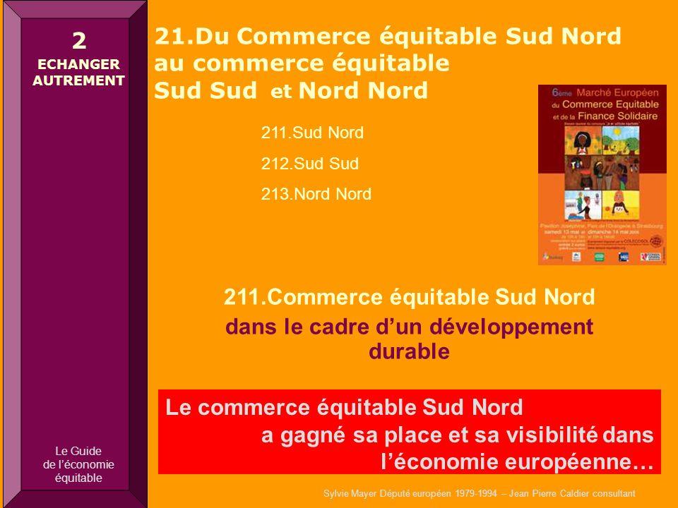 Sylvie Mayer Député européen 1979-1994 – Jean Pierre Caldier consultant 211.Commerce équitable Sud Nord dans le cadre dun développement durable Le com