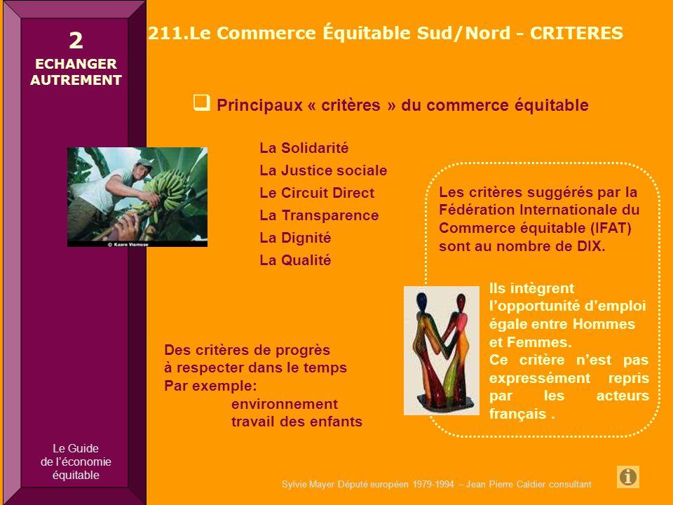 Sylvie Mayer Député européen 1979-1994 – Jean Pierre Caldier consultant Principaux « critères » du commerce équitable Commerce équitable Nord Sud La S