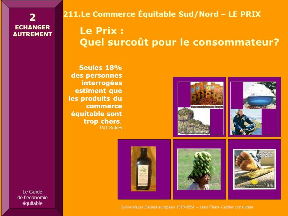 Sylvie Mayer Député européen 1979-1994 – Jean Pierre Caldier consultant Le Prix : Quel surcoût pour le consommateur? 2 ECHANGER AUTREMENT 211.Le Comme