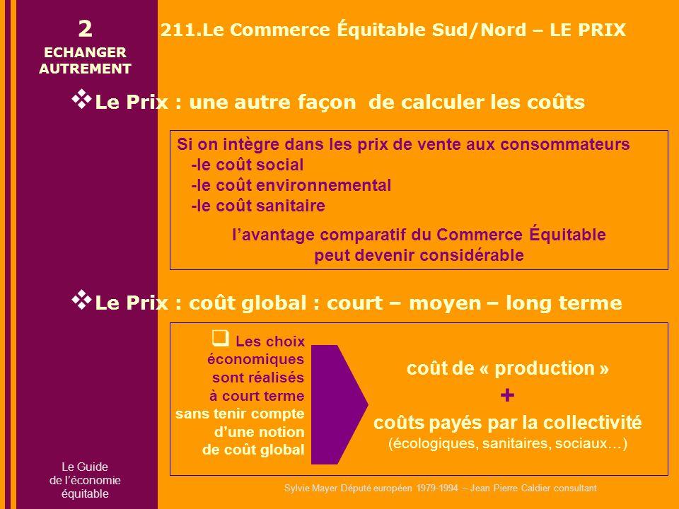 Sylvie Mayer Député européen 1979-1994 – Jean Pierre Caldier consultant Si on intègre dans les prix de vente aux consommateurs -le coût social -le coû