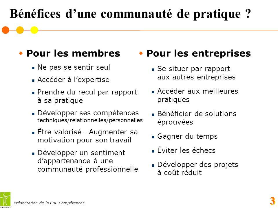 Présentation de la CoP Compétences 3 Bénéfices dune communauté de pratique .