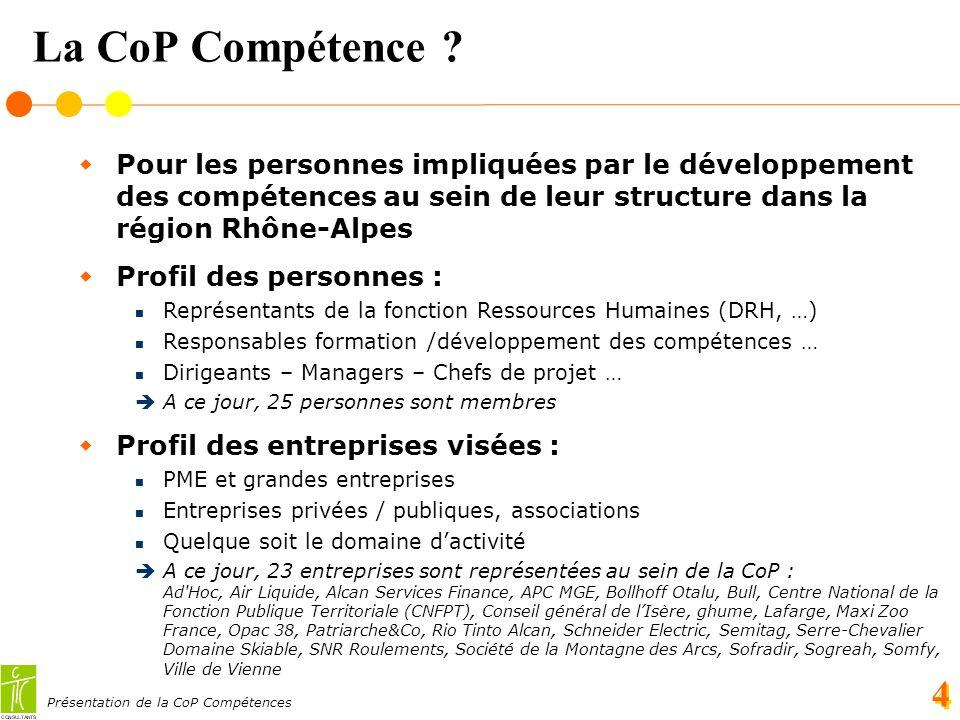 Présentation de la CoP Compétences 4 La CoP Compétence .