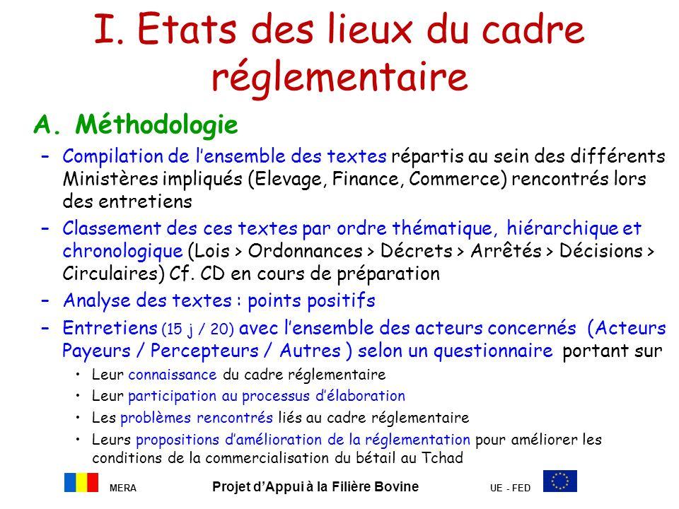 MERA Projet dAppui à la Filière Bovine UE - FED I. Etats des lieux du cadre réglementaire A. Méthodologie –Compilation de lensemble des textes réparti