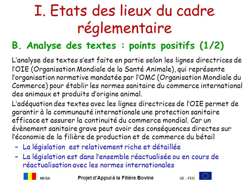 I. Etats des lieux du cadre réglementaire B. Analyse des textes : points positifs (1/2) Lanalyse des textes sest faite en partie selon les lignes dire