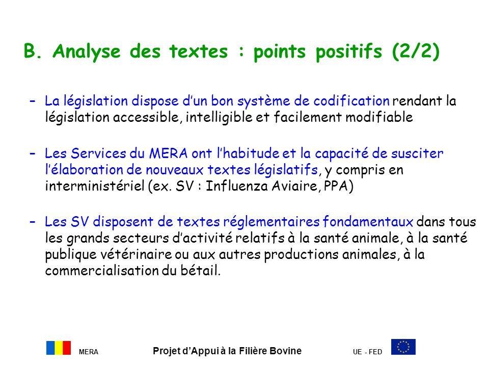 MERA Projet dAppui à la Filière Bovine UE - FED B. Analyse des textes : points positifs (2/2) –La législation dispose dun bon système de codification