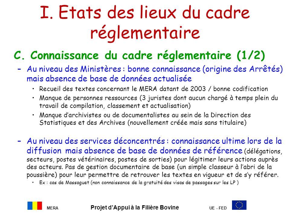 MERA Projet dAppui à la Filière Bovine UE - FED I. Etats des lieux du cadre réglementaire C. Connaissance du cadre réglementaire (1/2) –Au niveau des