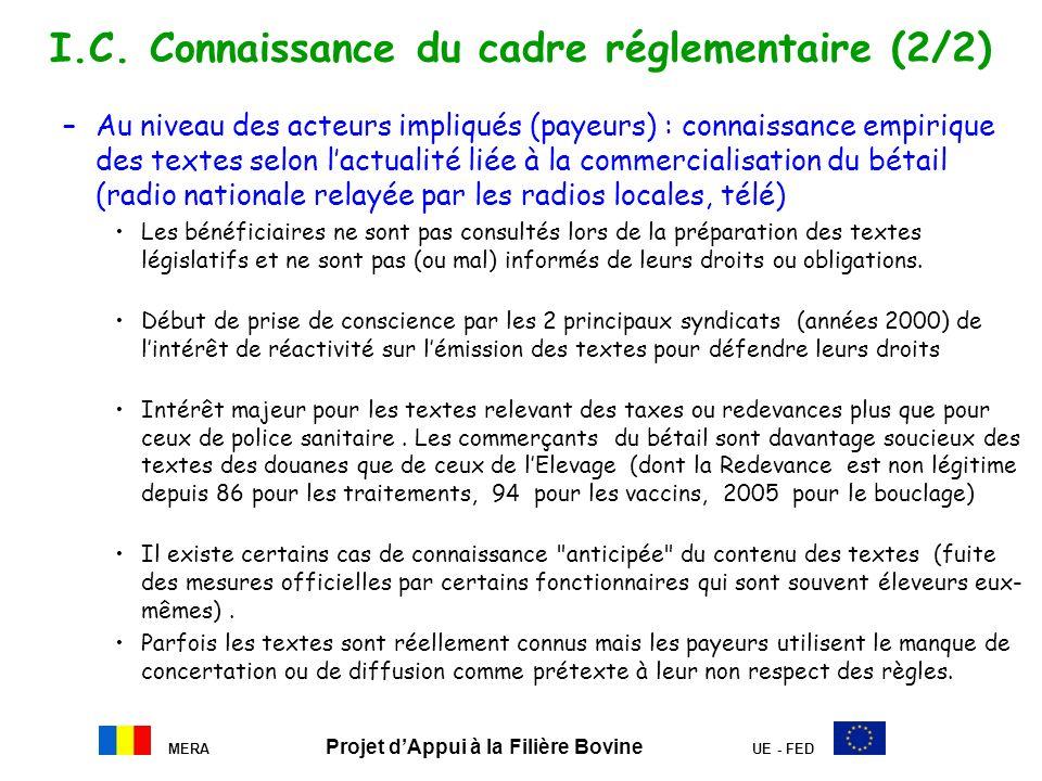 MERA Projet dAppui à la Filière Bovine UE - FED I.C. Connaissance du cadre réglementaire (2/2) –Au niveau des acteurs impliqués (payeurs) : connaissan