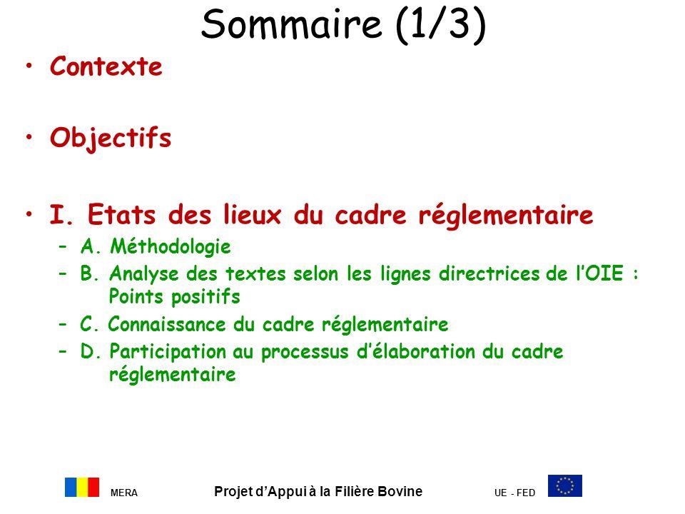 MERA Projet dAppui à la Filière Bovine UE - FED Sommaire (1/3) Contexte Objectifs I. Etats des lieux du cadre réglementaire –A. Méthodologie –B. Analy