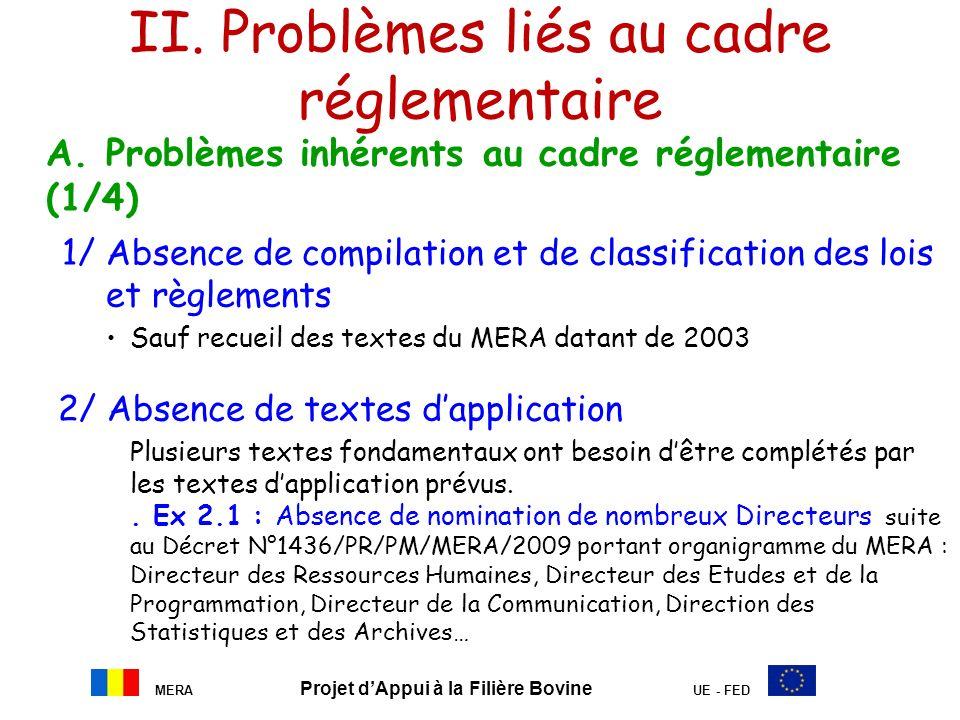 II. Problèmes liés au cadre réglementaire A. Problèmes inhérents au cadre réglementaire (1/4) 1/ Absence de compilation et de classification des lois