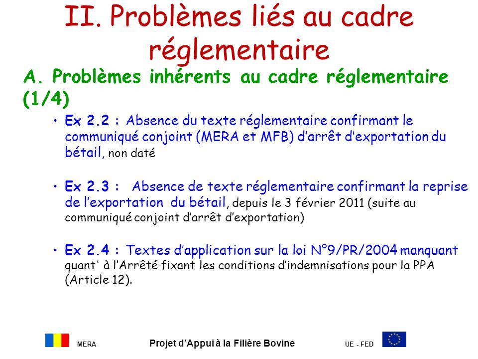 MERA Projet dAppui à la Filière Bovine UE - FED II. Problèmes liés au cadre réglementaire A. Problèmes inhérents au cadre réglementaire (1/4) Ex 2.2 :