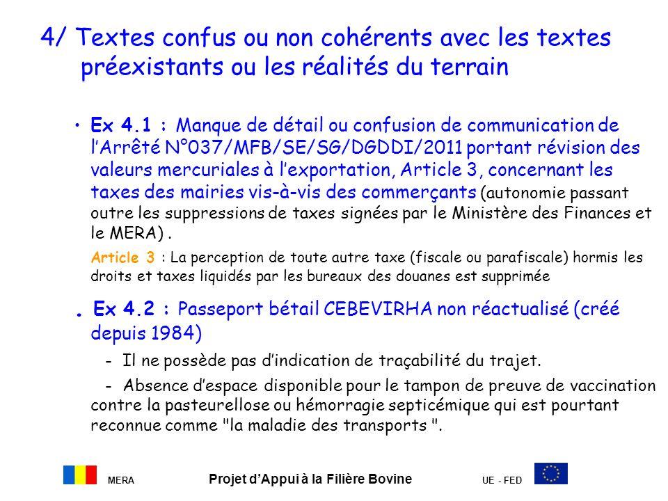 MERA Projet dAppui à la Filière Bovine UE - FED 4/ Textes confus ou non cohérents avec les textes préexistants ou les réalités du terrain Ex 4.1 : Man