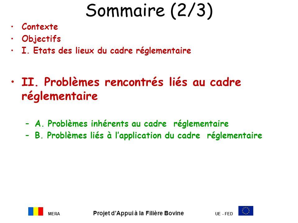 MERA Projet dAppui à la Filière Bovine UE - FED Sommaire (2/3) Contexte Objectifs I. Etats des lieux du cadre réglementaire II. Problèmes rencontrés l