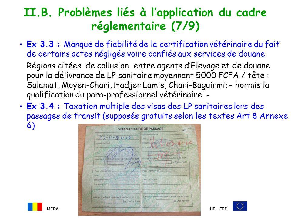 II.B. Problèmes liés à lapplication du cadre réglementaire (7/9) Ex 3.3 : Manque de fiabilité de la certification vétérinaire du fait de certains acte