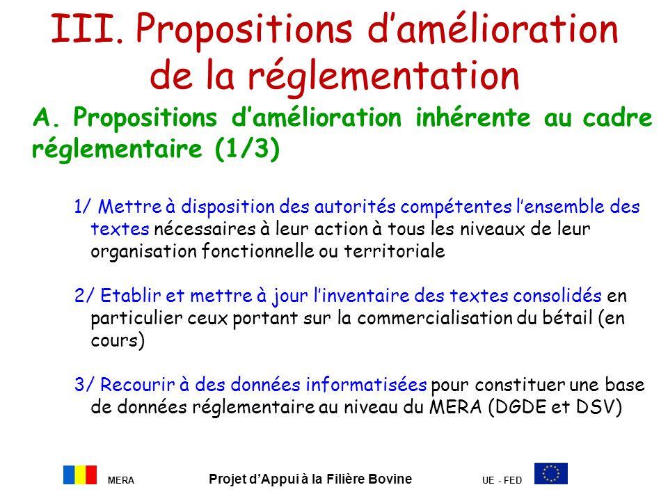 III. Propositions damélioration de la réglementation A. Propositions damélioration inhérente au cadre réglementaire (1/3) 1/ Mettre à disposition des