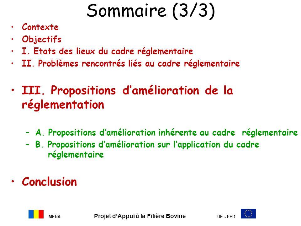 MERA Projet dAppui à la Filière Bovine UE - FED Sommaire (3/3) Contexte Objectifs I. Etats des lieux du cadre réglementaire II. Problèmes rencontrés l