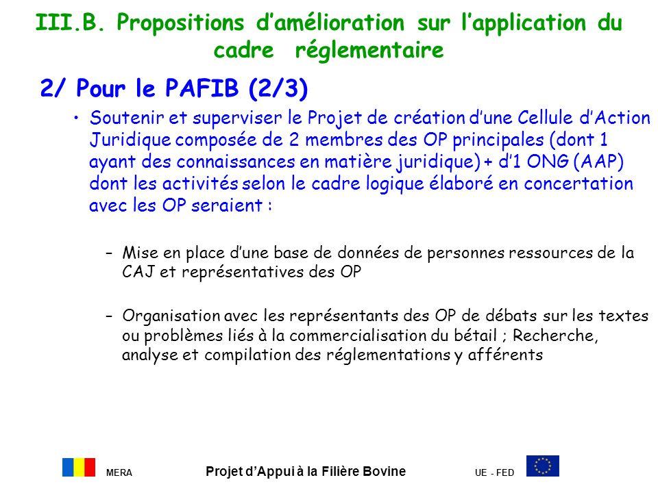MERA Projet dAppui à la Filière Bovine UE - FED III.B. Propositions damélioration sur lapplication du cadre réglementaire 2/ Pour le PAFIB (2/3) Soute