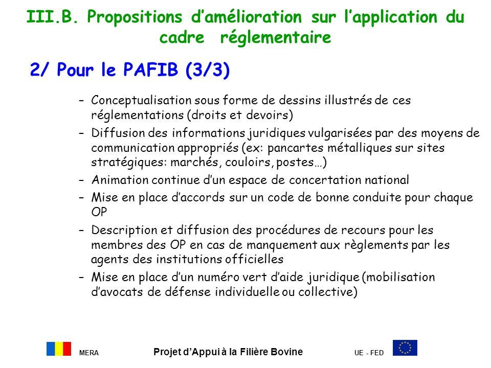 MERA Projet dAppui à la Filière Bovine UE - FED III.B. Propositions damélioration sur lapplication du cadre réglementaire 2/ Pour le PAFIB (3/3) –Conc