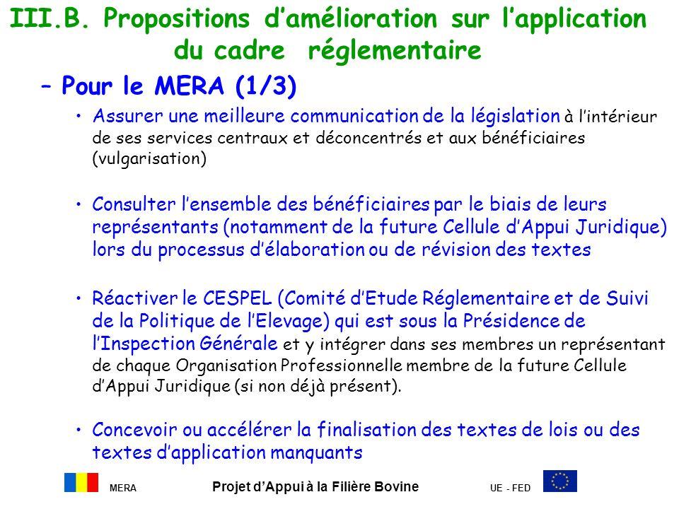 III.B. Propositions damélioration sur lapplication du cadre réglementaire –Pour le MERA (1/3) Assurer une meilleure communication de la législation à