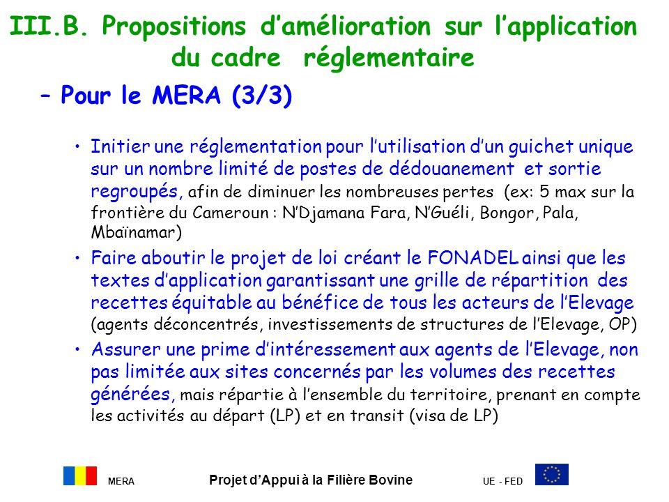 MERA Projet dAppui à la Filière Bovine UE - FED III.B. Propositions damélioration sur lapplication du cadre réglementaire –Pour le MERA (3/3) Initier
