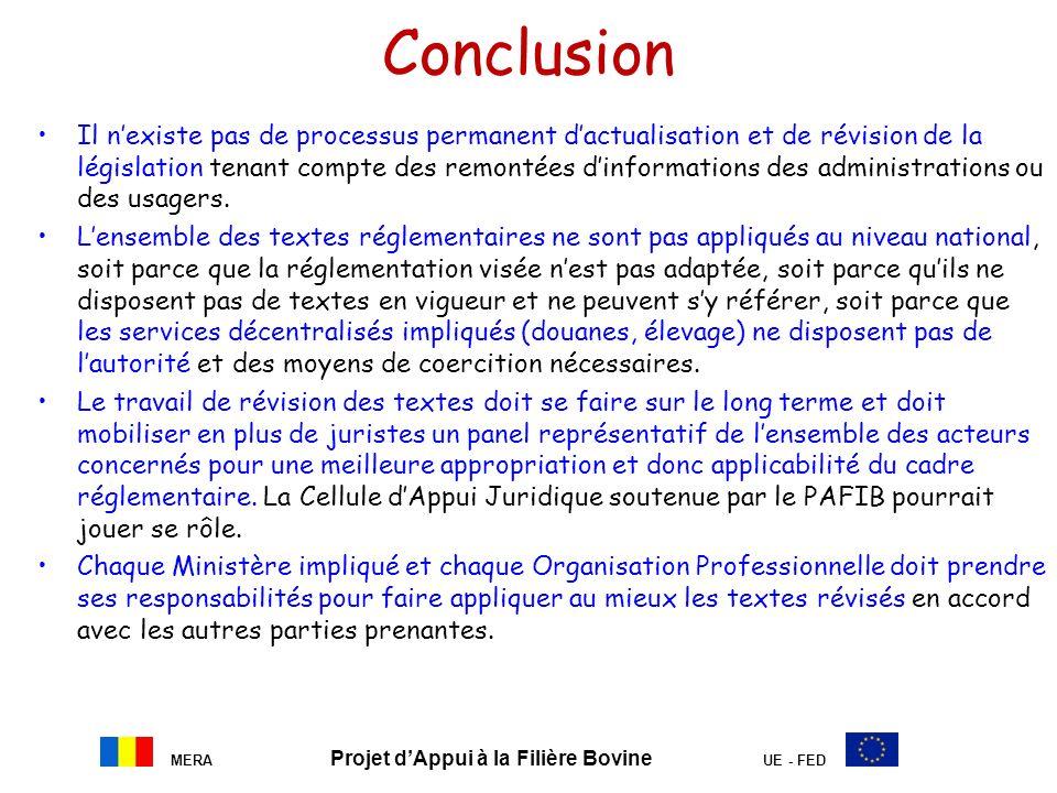 MERA Projet dAppui à la Filière Bovine UE - FED Conclusion Il nexiste pas de processus permanent dactualisation et de révision de la législation tenan