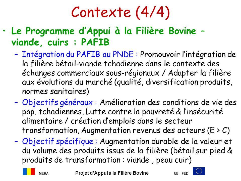 MERA Projet dAppui à la Filière Bovine UE - FED Contexte (4/4) Le Programme dAppui à la Filière Bovine – viande, cuirs : PAFIB –Intégration du PAFIB a