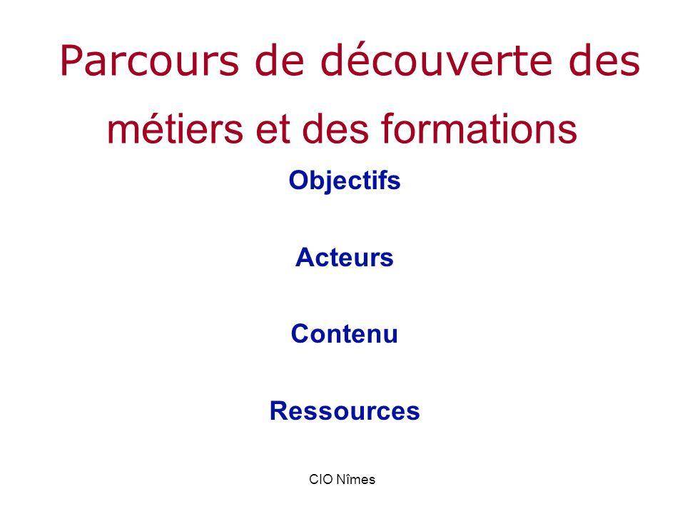 CIO Nîmes métiers et des formations Objectifs Acteurs Contenu Ressources Parcours de découverte des