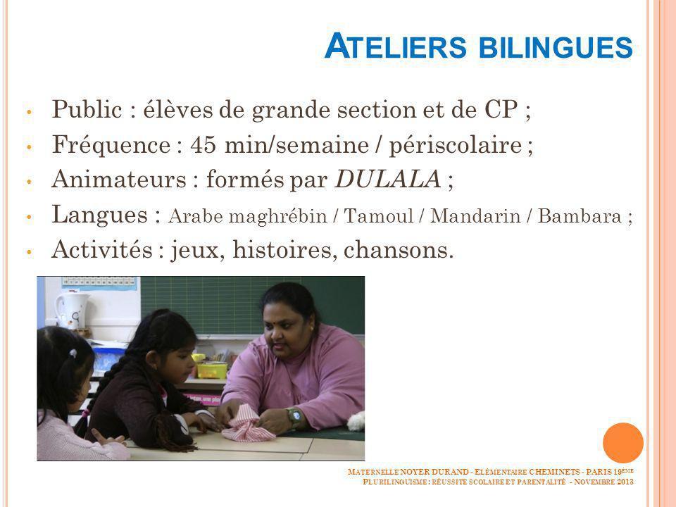 A TELIERS BILINGUES Public : élèves de grande section et de CP ; Fréquence : 45 min/semaine / périscolaire ; Animateurs : formés par DULALA ; Langues