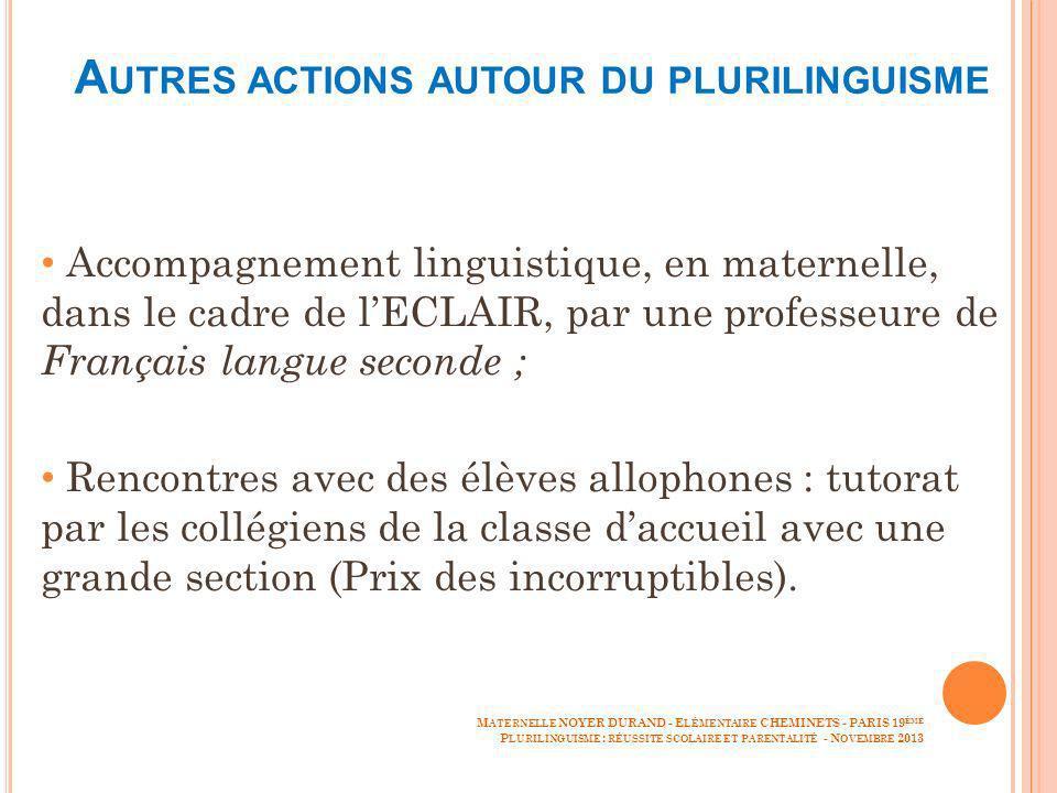 A UTRES ACTIONS AUTOUR DU PLURILINGUISME Accompagnement linguistique, en maternelle, dans le cadre de lECLAIR, par une professeure de Français langue