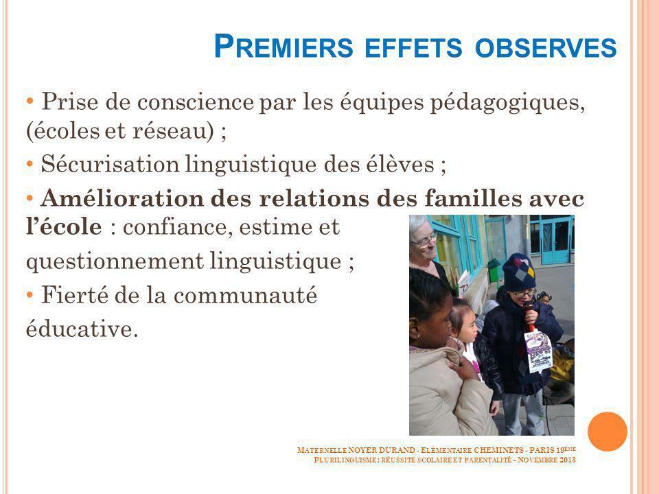 P REMIERS EFFETS OBSERVES Prise de conscience par les équipes pédagogiques, (écoles et réseau) ; Sécurisation linguistique des élèves ; Amélioration d