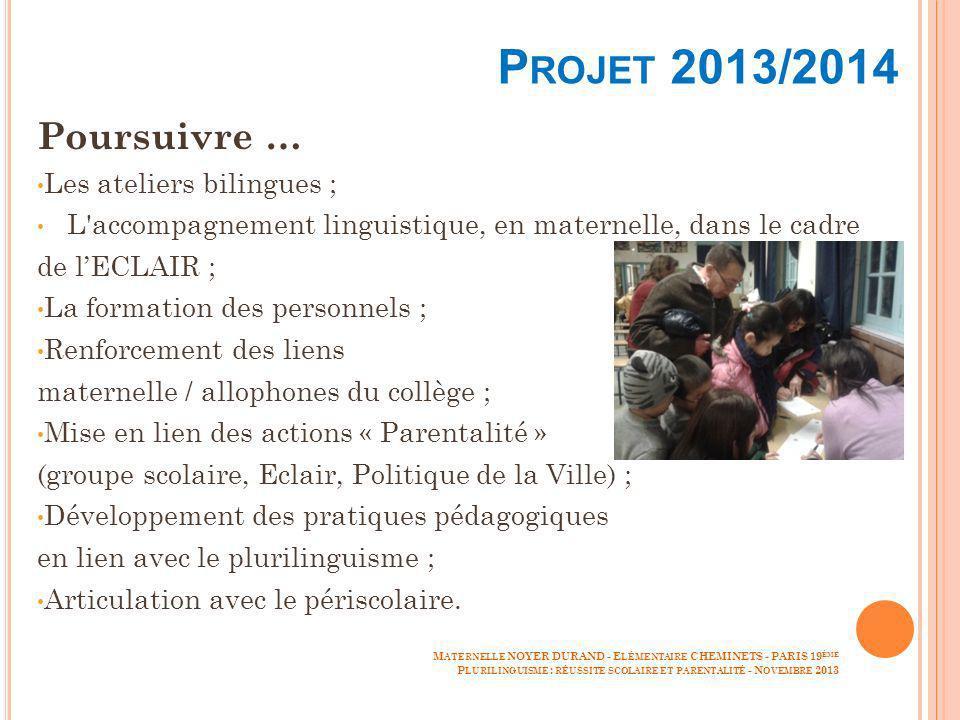 P ROJET 2013/2014 Poursuivre … Les ateliers bilingues ; L'accompagnement linguistique, en maternelle, dans le cadre de lECLAIR ; La formation des pers