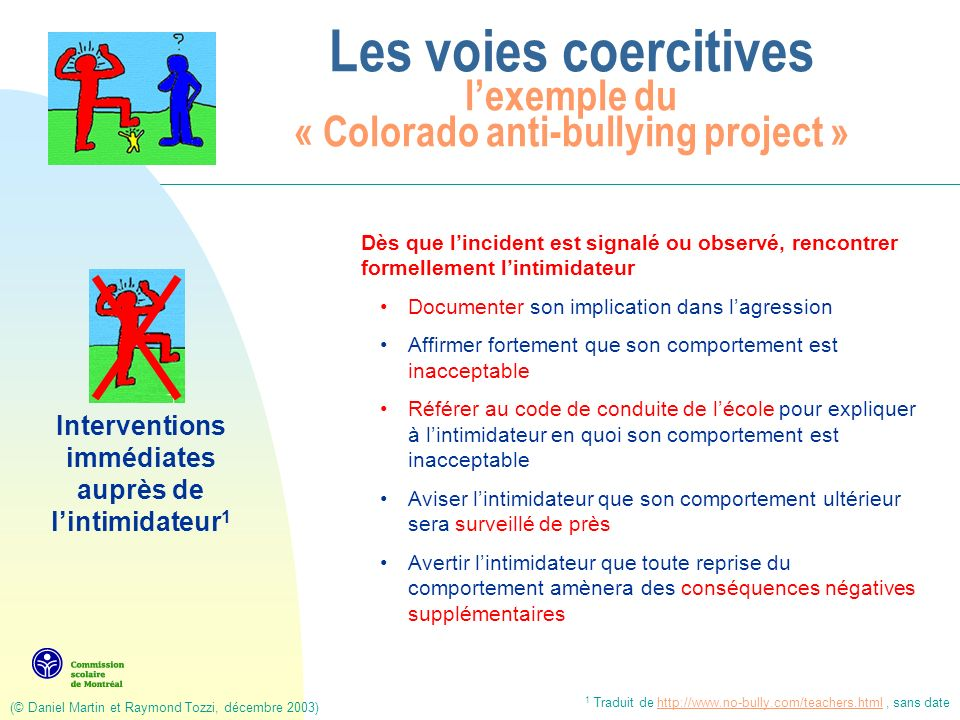 (© Daniel Martin et Raymond Tozzi, décembre 2003) Les voies coercitives lexemple du « Colorado anti-bullying project » Interventions immédiates auprès de la victime 1 Le plus rapidement possible, rencontrer formellement la victime et ses parents, séparément de lagresseur Documenter chaque épisode dintimidation: inclure comment la situation sest amorcée, ce qui sest produit, qui a participé et qui a été témoin Informer la victime sur le plan daction prévu à lendroit de lagresseur; assurer que tout sera fait pour prévenir toute répétition de lintimidation Tenter de convaincre la victime de dénoncer tout nouvel incident dintimidation 1 Traduit de http://www.no-bully.com/teachers.html, sans datehttp://www.no-bully.com/teachers.html