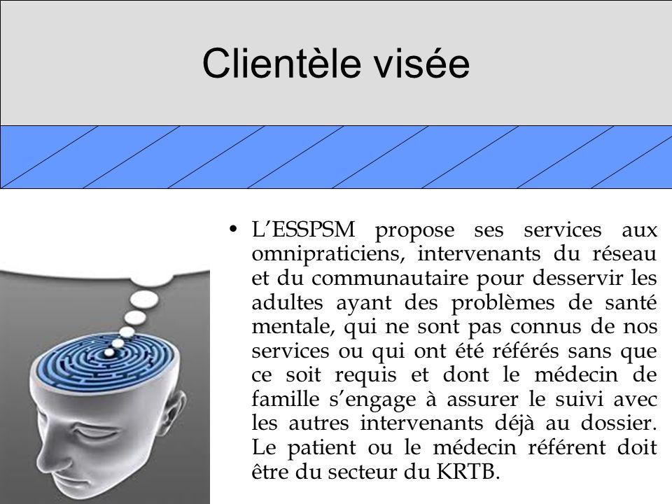 Clientèle visée LESSPSM propose ses services aux omnipraticiens, intervenants du réseau et du communautaire pour desservir les adultes ayant des probl