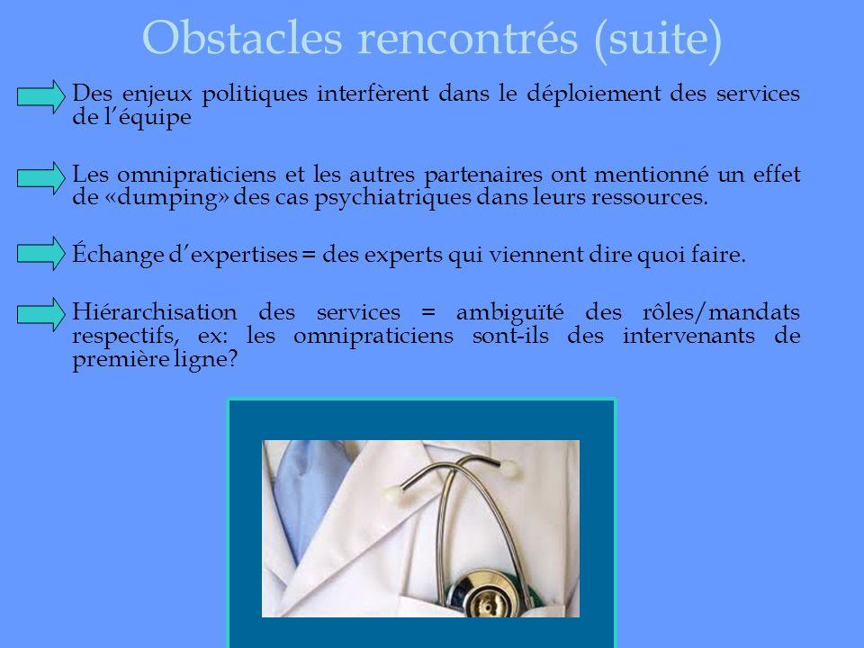 Obstacles rencontrés (suite) Des enjeux politiques interfèrent dans le déploiement des services de léquipe Les omnipraticiens et les autres partenaire
