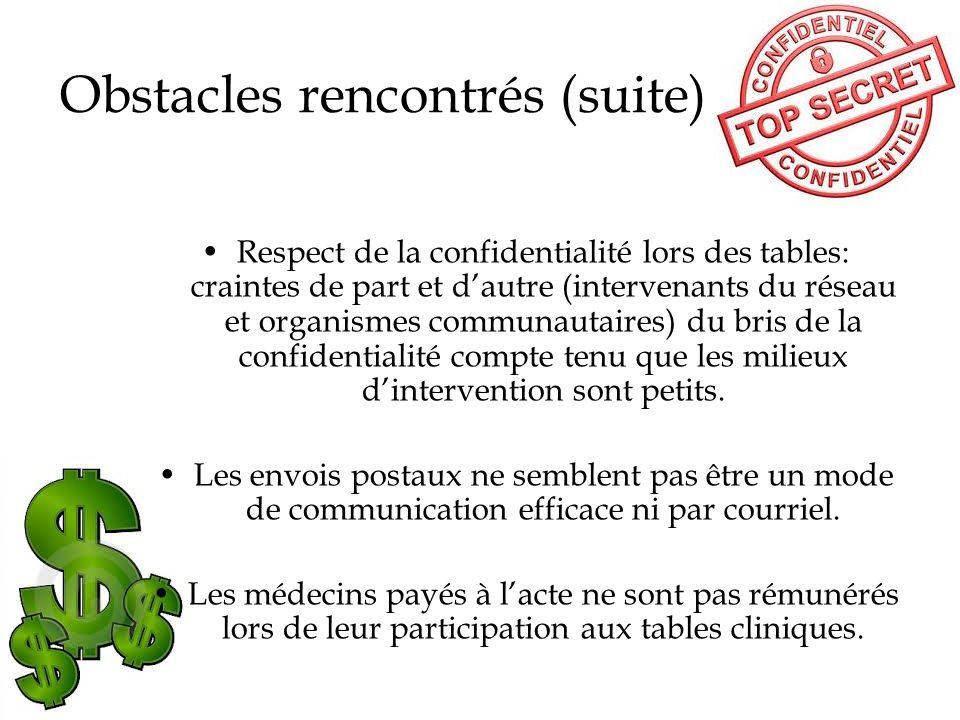 Obstacles rencontrés (suite) Respect de la confidentialité lors des tables: craintes de part et dautre (intervenants du réseau et organismes communaut