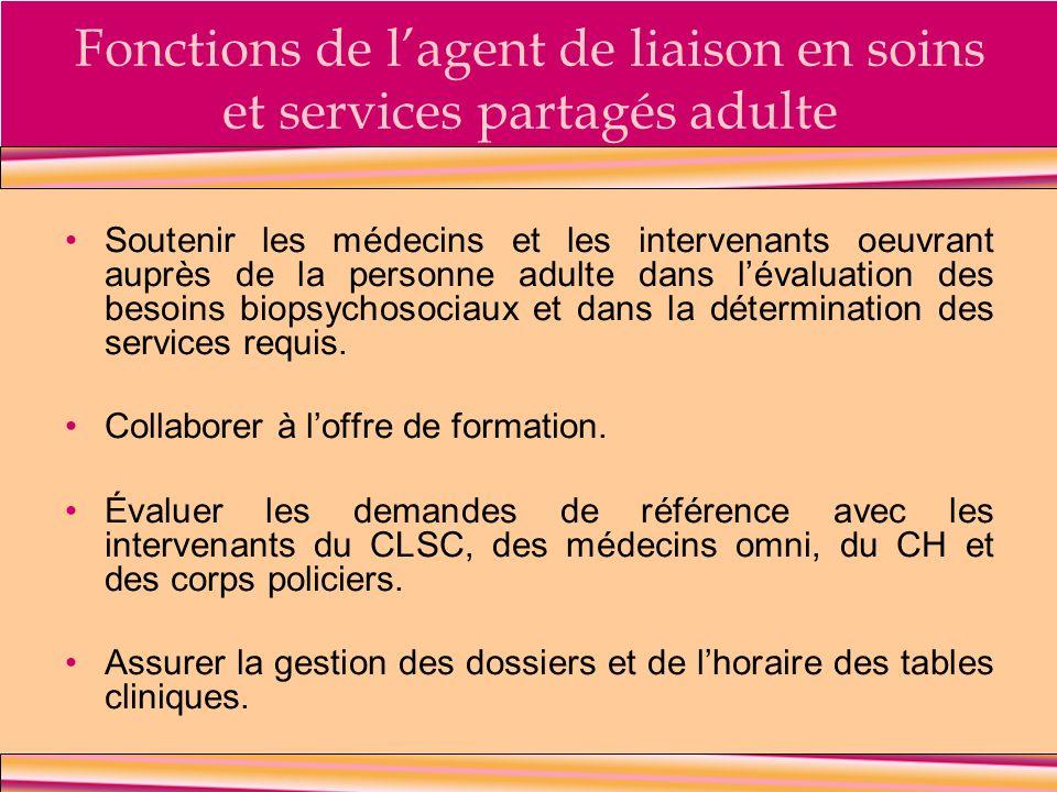 Fonctions de lagent de liaison en soins et services partagés adulte Soutenir les médecins et les intervenants oeuvrant auprès de la personne adulte da