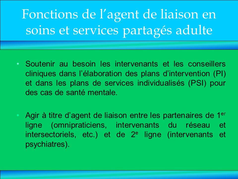 Fonctions de lagent de liaison en soins et services partagés adulte Soutenir au besoin les intervenants et les conseillers cliniques dans lélaboration