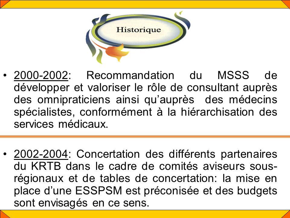 2000-2002: Recommandation du MSSS de développer et valoriser le rôle de consultant auprès des omnipraticiens ainsi quauprès des médecins spécialistes,